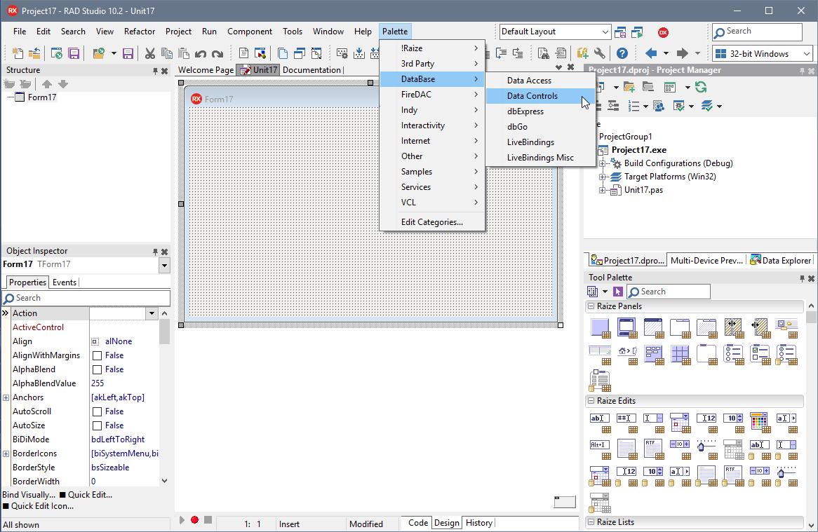 Palette Menu | Raize Software